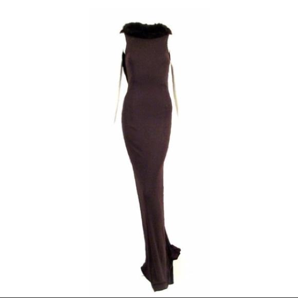 jiki Monte-Carlo Creations Dresses & Skirts - Jiki Monte-Carlo Creations Fox Fur Trim Gown